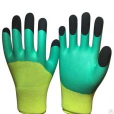 Перчатки Вспененные зелен с черными пальцами (12шт/720 уп)
