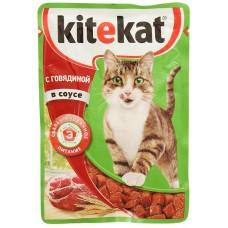 Корм для кошек консервиров.Kitekat говядина в желе 85г*28