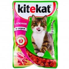 Корм для кошек консервиров.Kitekat ягненок в соус 85г*28