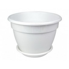 Кашпо Антик D22. 3,6л  белый с под (35шт)